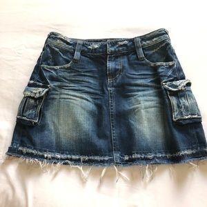 Cargo style blue denim skirt